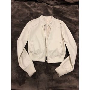 Faux leather off white bomber jacket
